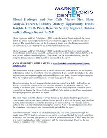 Hydrogen and Fuel Cells Market Shares, Growth And Demand To 2016
