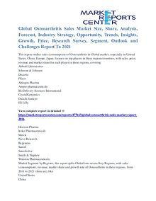 Osteoarthritis Sales Market Major Players Analysis and Forecast 2021