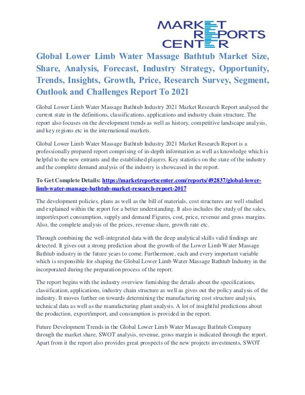 Lower Limb Water Massage Bathtub Market Analysis and Forecast to 2021 Lower Limb Water Massage Bathtub Market