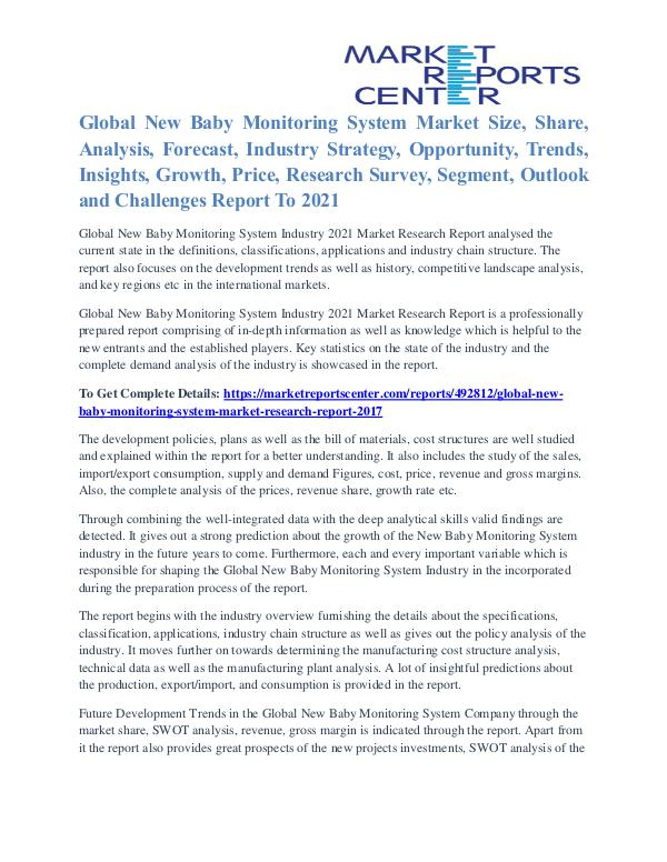 New Baby Monitoring System Market Major Players Analysis To 2021 New Baby Monitoring System Market