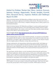 Car Polisher Market Share,Supply And Consumption Report To 2021