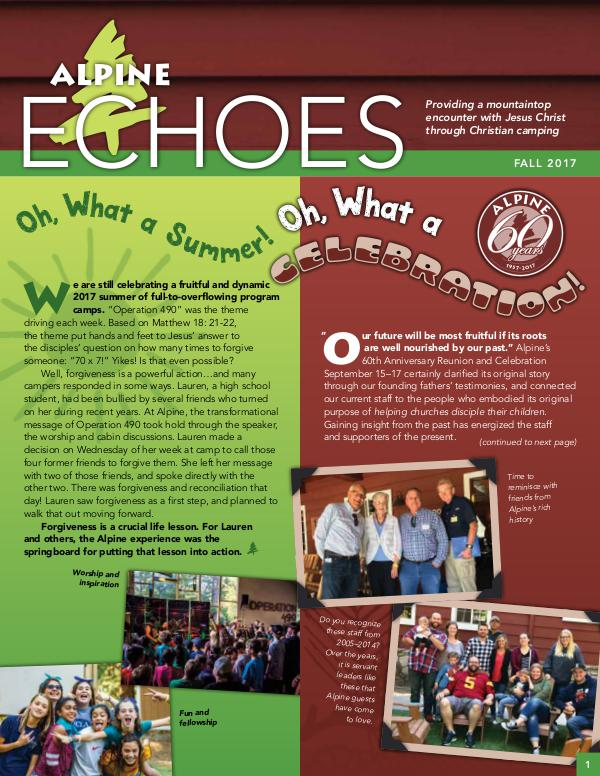 Alpine Echoes 2017 Fall Edition