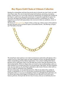 Buy Figaro Gold Chain at Ultimate Collection