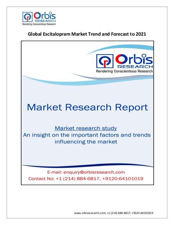 Market Research Report 2021 Analysis: Global Escitalopram Market