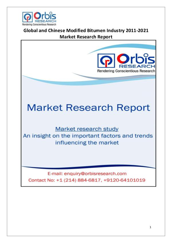 Industry Analysis 2016 Modified Bitumen Market in China & Globally