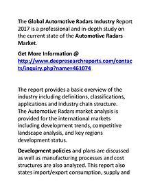Automotive Radars Industry 2017-2022 Market Growth