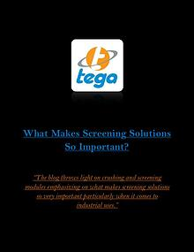 What Makes Screening Solutions So Important?