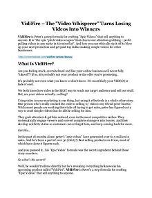 Vidifire Review & Vidifire $16,700 bonuses