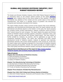 Histidine Market 2012-2022 Global Key Manufacturers Analysis Review