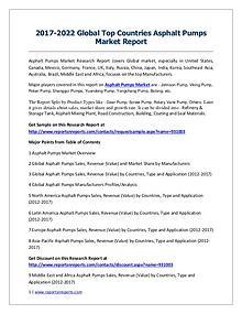 Asphalt Pumps Market 2017 Analysis, Trends and Forecasts 2022