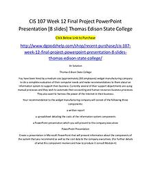 CIS 107 Week 12 Final Project PowerPoint Presentation [8 slides] Thom