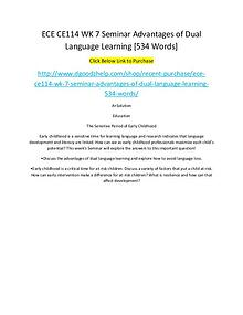 ECE CE114 WK 7 Seminar Advantages of Dual Language Learning [534 Word