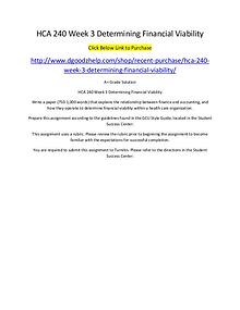 HCA 240 Week 3 Determining Financial Viability