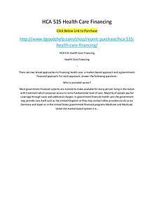 HCA 515 Health Care Financing