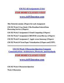 CIS 512 MENTOR Extraordinary Life/cis512mentor.com