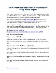 High Pressure Pump Market 2017 Analysis, Trends and Forecasts 2022