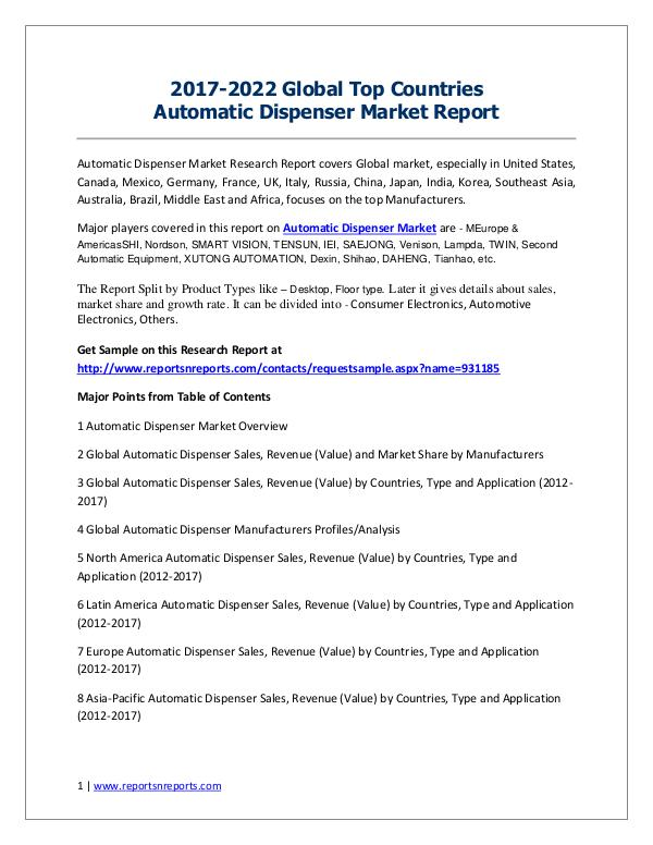 2017-2022 Global Top Countries Electronic commerce Market Report 2017-2022 Global Top Countries Automatic Dispenser
