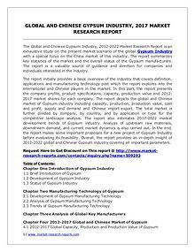 Gypsum Industry 2022 Forecasts for (Global, Chinese) Region