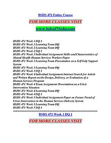 BSHS 471 STUDY It's Your Life/bshs471edu.com