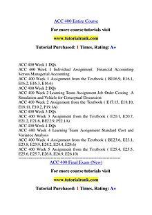 ACC 400 Experience Tradition / tutorialrank.com