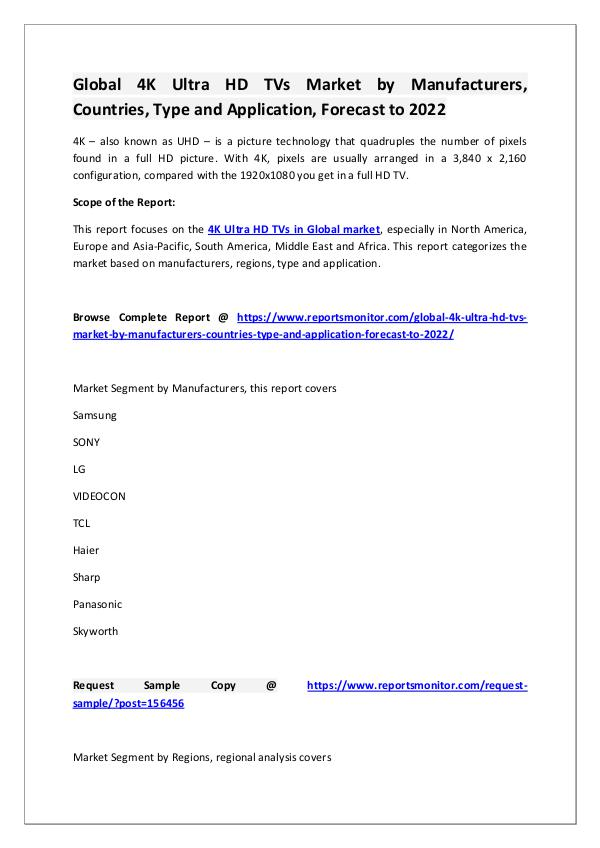 4K Ultra HD TVs Market Research Report