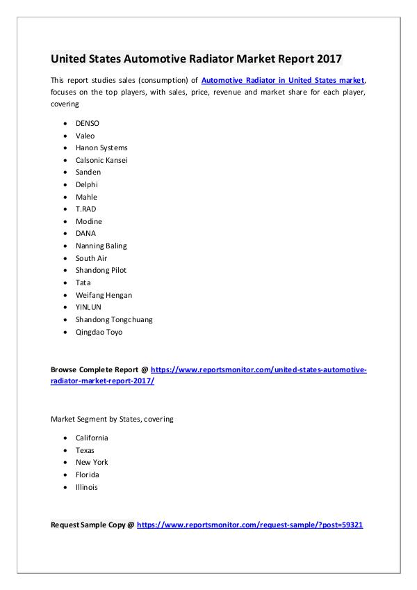 United States Automotive Radiator Market Report