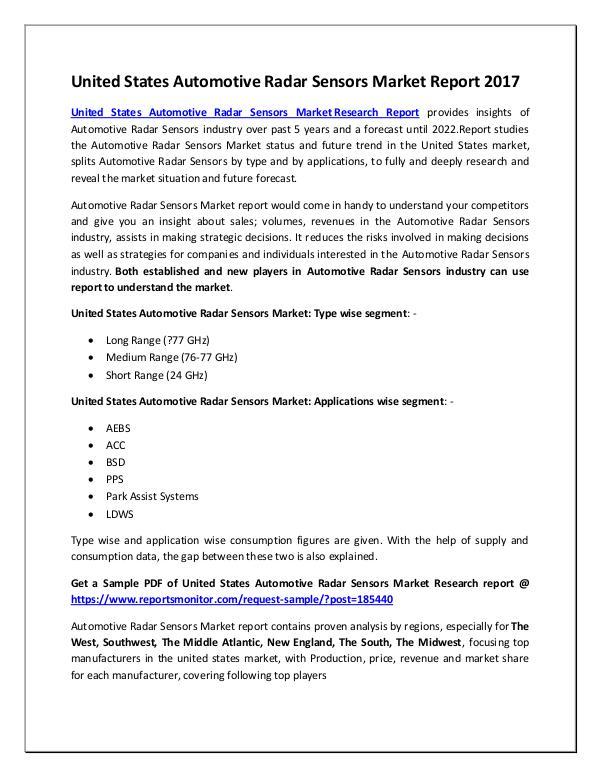 Automotive Radar Sensors Market Research Report