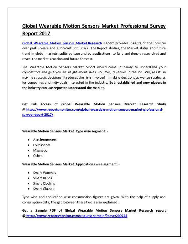 Global Wearable Motion Sensors Market Report