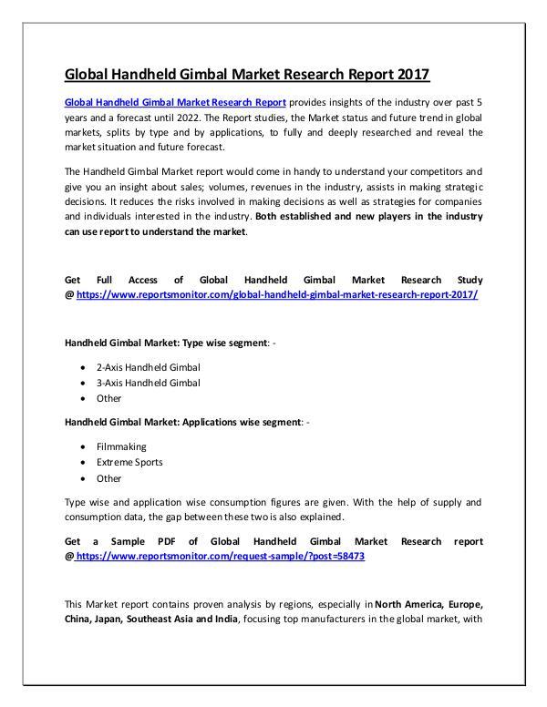 Global Handheld Gimbal Market Research Report 2017