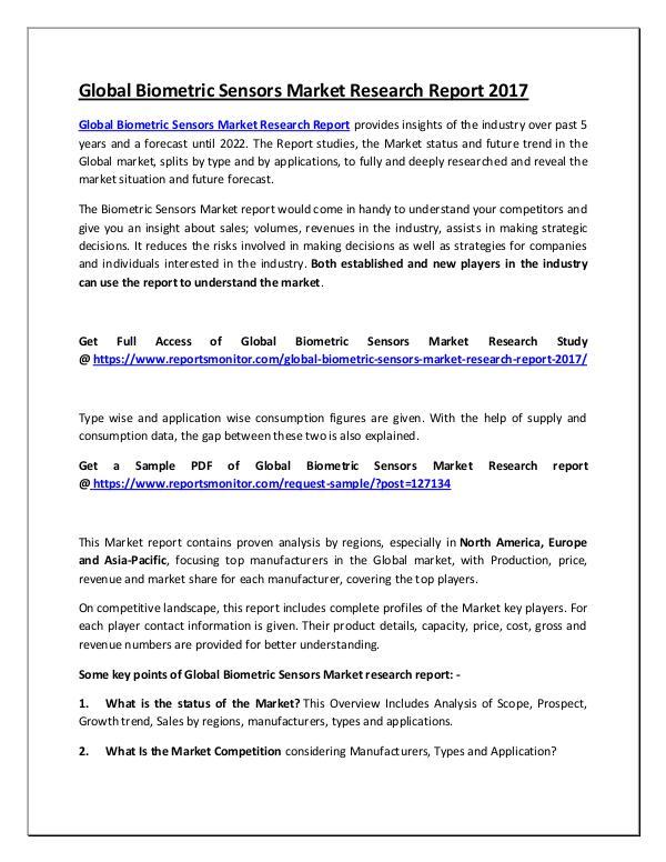 Global Biometric Sensors Market Research Report