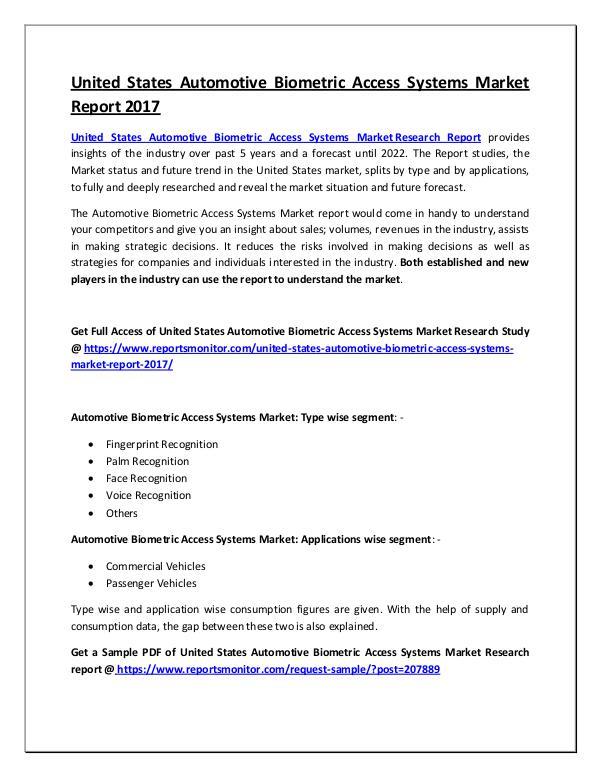 Automotive Biometric Access Systems Market Report