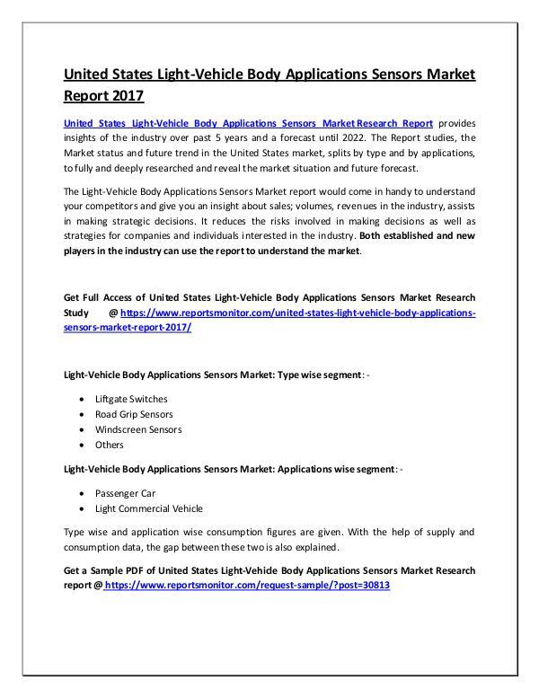 Light-Vehicle Body Applications Sensors Market