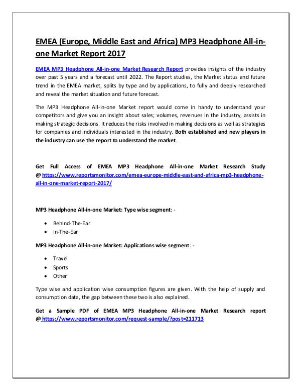 MP3 Headphone All-in-one Market Research Report