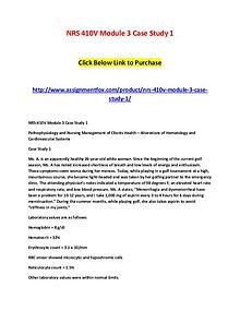 NRS 410V Module 3 Case Study 1