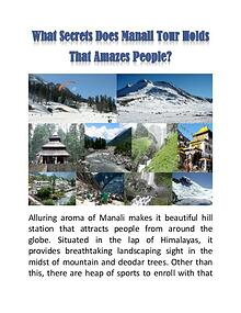 What Secrets Does Manali Tour Holds That Amazes People?