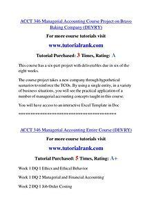 ACCT 346 Experience Tradition / tutorialrank.com
