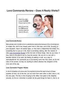 Love Commands Program Review - Does It Work Or Scam?