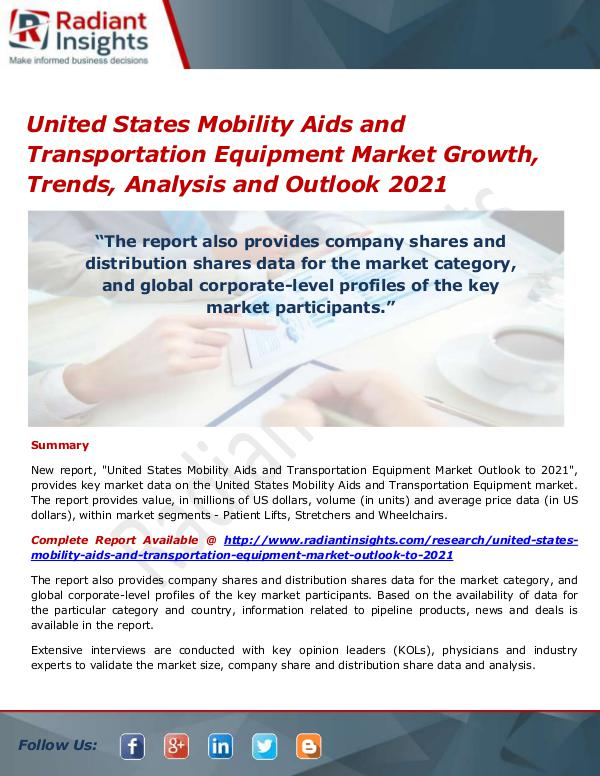 Medical Devices Market Research Reports United States Mobility Aids and Transportation Equ
