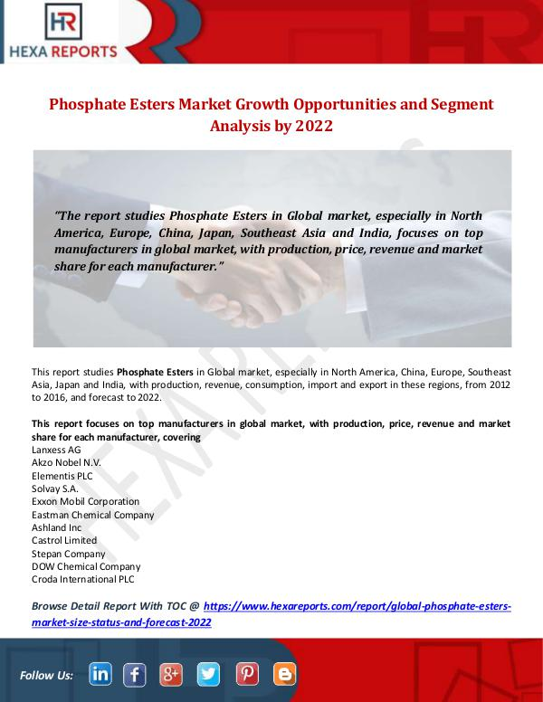 Hexa Reports Industry Phosphate Esters Market