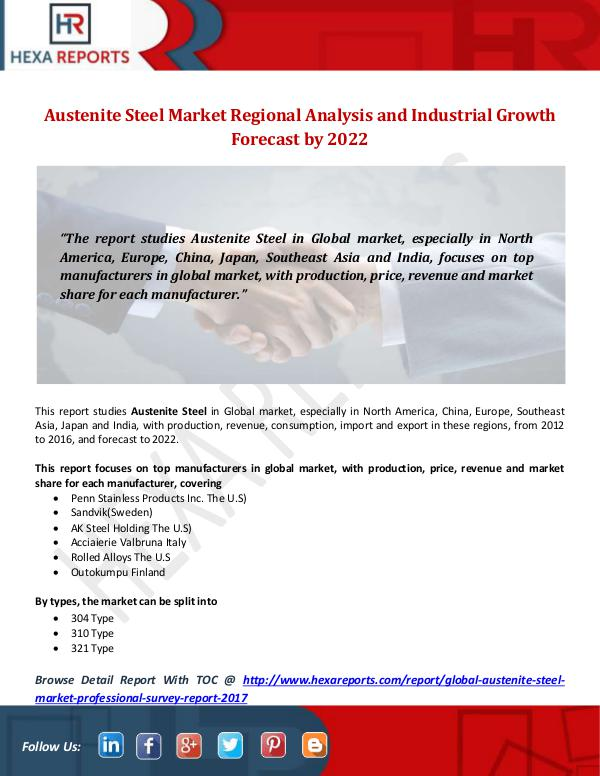 Hexa Reports Industry Austenite Steel Market