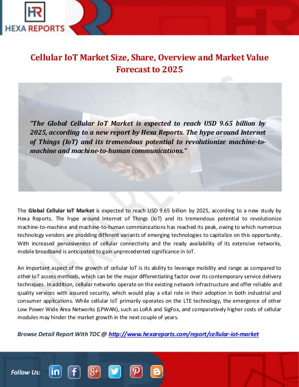 Hexa Reports Industry Cellular IoT Market