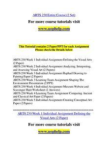 ARTS 230  Invent Youself/uophelp.com
