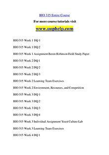 BIO 315 Invent Youself/uophelp.com