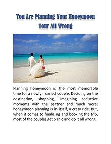 You Are Planning Your Honeymoon Tour All Wrong