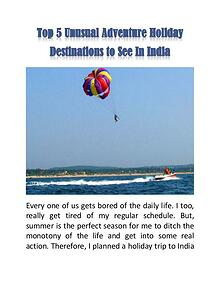 Top 5 Unusual Adventure Holiday Destinations to See In India