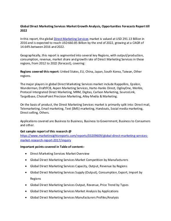 Global Direct Marketing Services Market  2017 Global Direct Marketing Services Market 2017