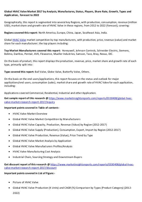 Global HVAC Valve Market 2017 Global HVAC Valve Market 2017 forecast to 2022
