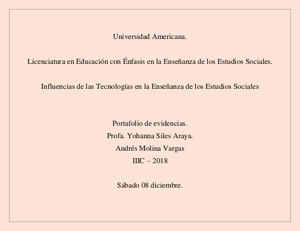 Influencias de la Tecnología en la Enseñanza Portafolio Digital_Andres Molna Vargas.