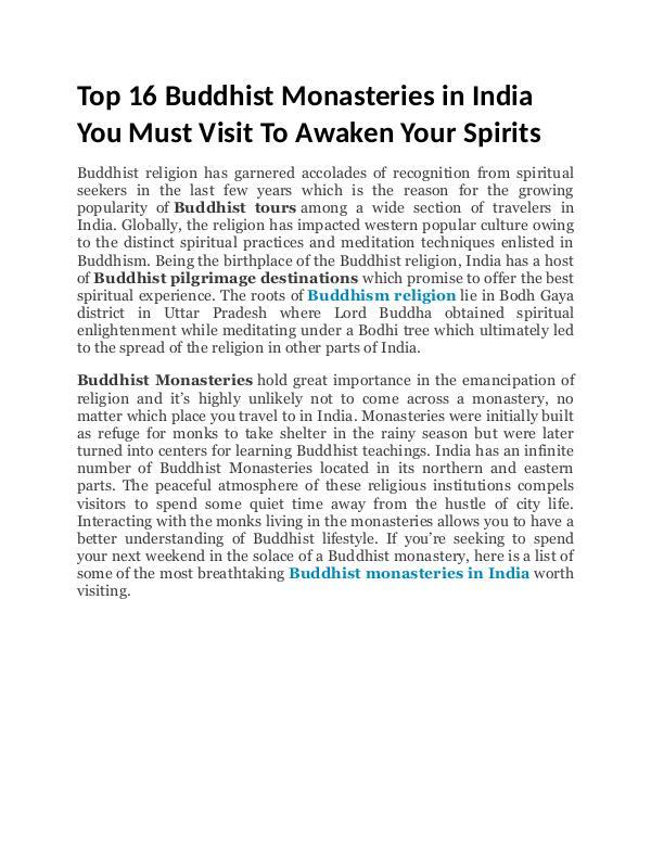 Top 16 Buddhist Monasteries in India Top 16 Buddhist Monasteries in India