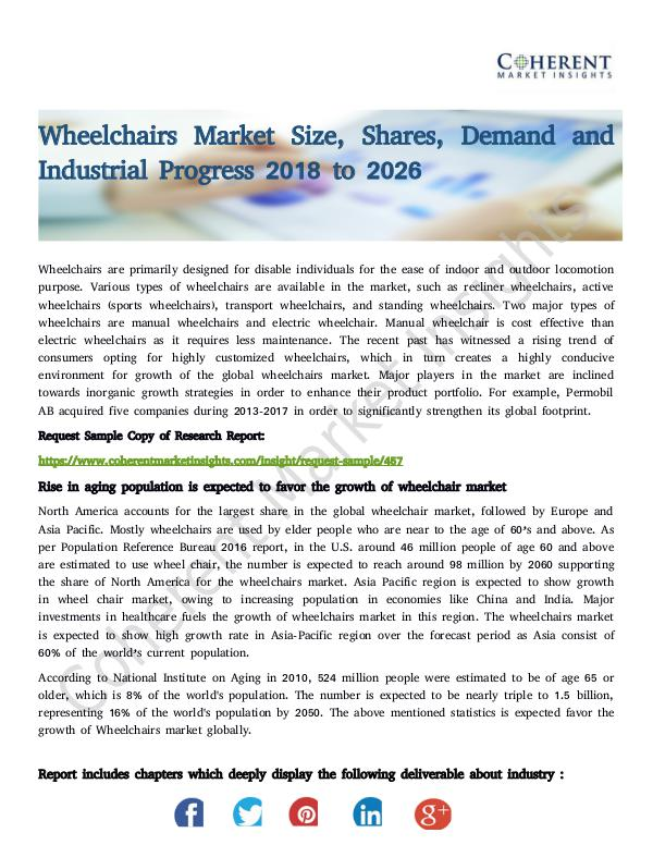 Stairlifts Market: Foresees Skyrocketing Growth in the Coming Years Wheelchairs Market